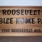 Roosevelt cedar routed sign