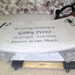 Stone engraved memorial bench
