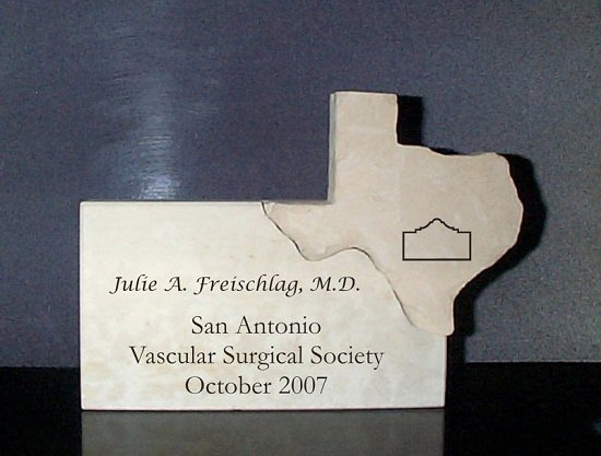 Custom award for the Vascular Surgical Society in Texas
