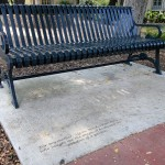 Metal benches were secured to cement pads, some of the donors were then recognized by engraving onto the cement pads with text as submitted by the donors